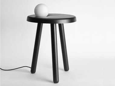 Tavolino in ferro con lampada in vetro soffiato ALBY
