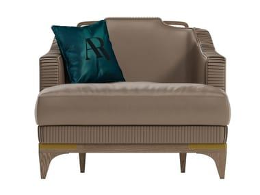Leather armchair with armrests ALEXANDER | Armchair