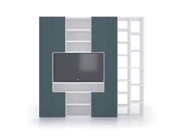 Mobile TV componibile in HPL con libreria ALFABETO | Mobile TV