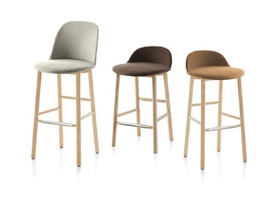 High fabric stool with removable cover with back ALFI | Upholstered stool