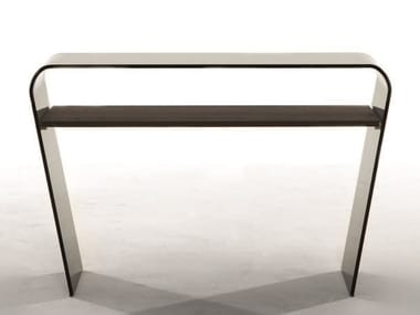 Rectangular glass console table with shelving ALTAMURA