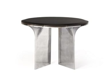Round aluminium and wood coffee table ALTO | Round coffee table