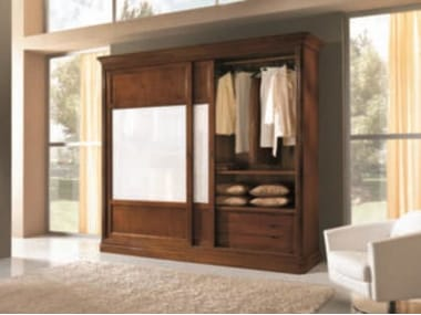 Solid wood wardrobe with sliding doors AMALFI | Solid wood wardrobe