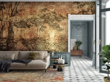 Carta da parati foglia oro con paesaggi AMBOO