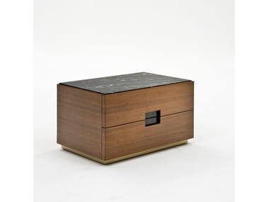 Rectangular walnut bedside table with drawers PEPE