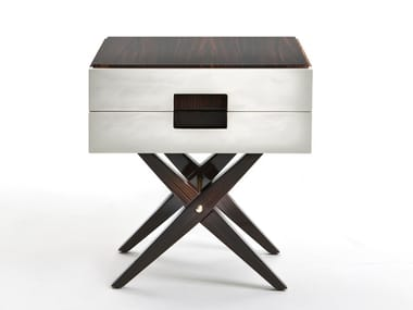 Rectangular walnut bedside table with drawers CARVI