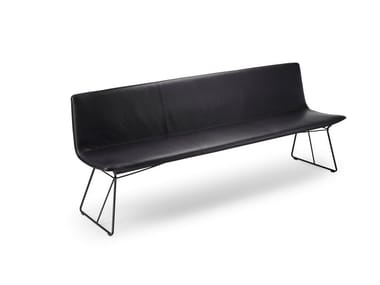Leather bench with back AMELIE BENCH