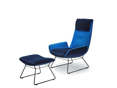 Fabric armchair with headrest AMELIE LOUNGE CHAIR
