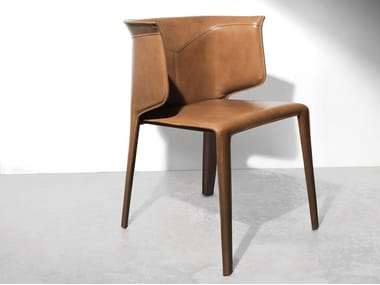 Contemporary style upholstered tanned leather chair ANASTASIA | Chair