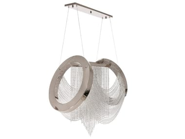 LED crystal and stainless steel pendant lamp ANELAR