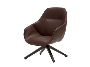 Swivel high-back leather armchair ANITA | High-back armchair