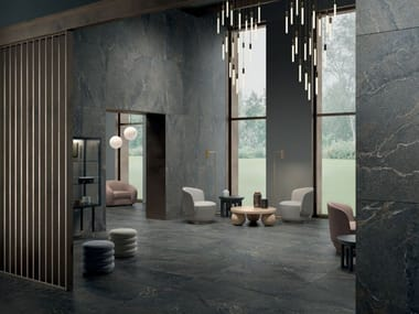 Indoor/outdoor porcelain stoneware wall/floor tiles with stone effect ANTHOLOGY - DARK