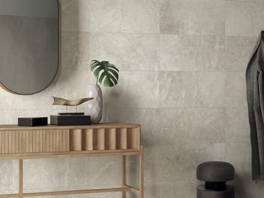 Indoor/outdoor porcelain stoneware wall/floor tiles with stone effect ANTHOLOGY - WHITE