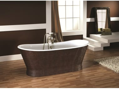 Freestanding oval tanned leather bathtub ANTICA HIDE