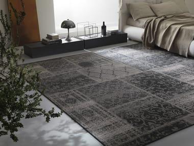 Patterned rectangular fabric rug ANTIK