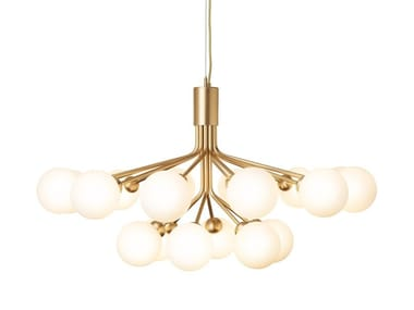 Glass pendant lamp APIALES 18 BRUSHED BRASS