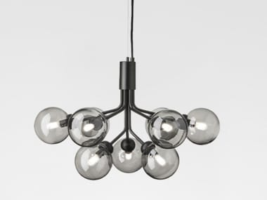 LED blown glass pendant lamp APIALES 9 SATIN BLACK - SMOKED