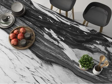 Sintered ceramic wall tiles / kitchen worktop marble effect ARABESCATTO CORCHIA