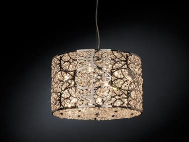 Steel pendant lamp with crystals ARABESQUE CILINDRO HORIZONTAL