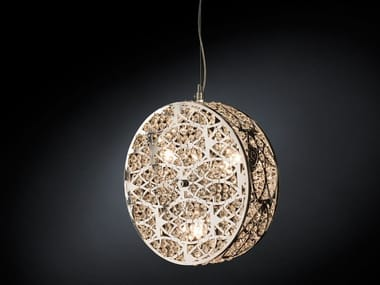 Steel pendant lamp with crystals ARABESQUE CILINDRO VERTICAL