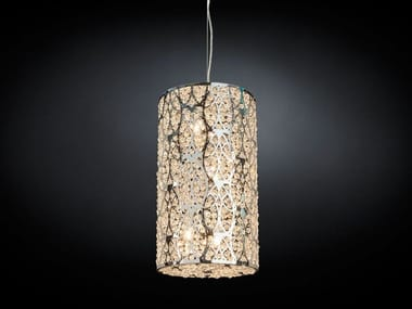 Steel pendant lamp with crystals ARABESQUE CILINDRO
