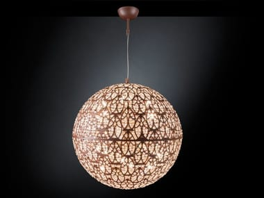 LED steel pendant lamp with crystals ARABESQUE EARTH