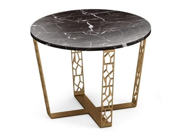 Round table in Nero Marquina marble and metal ARABESQUE | Marble coffee table
