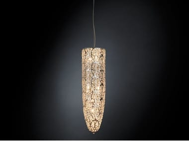 Steel pendant lamp with crystals ARABESQUE STALAGTITE