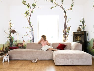 Corner sectional fabric sofa with chaise longue ARALIA