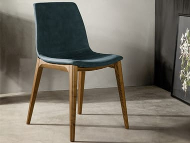 Upholstered leather chair ARALIA
