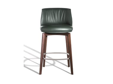 High upholstered leather stool with footrest ARCHIBALD | Leather stool
