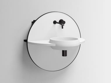 Wall-mounted Livingtec® console sink with mirror ARCO S