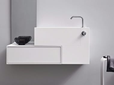 Rectangular wall-mounted Corian® washbasin with drawers ARGO UNICO | Wall-mounted washbasin