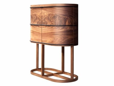 Wood veneer bar cabinet with integrated lighting ARIA | Bar cabinet