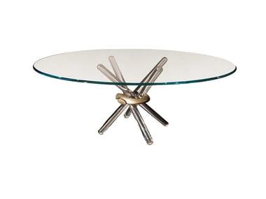 Tavolo da pranzo rotondo in vetro ARLEQUIN | Tavolo