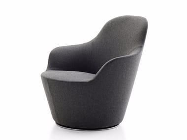 Upholstered fabric armchair with armrests HARBOR | Armchair