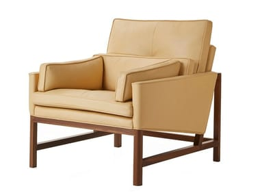 Leather armchair with armrests WOOD FRAME LOUNGE | Armchair