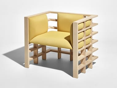 Wooden armchair with armrests MOCHI | Armchair