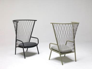 High-back aluminium garden armchair NEF | Garden armchair