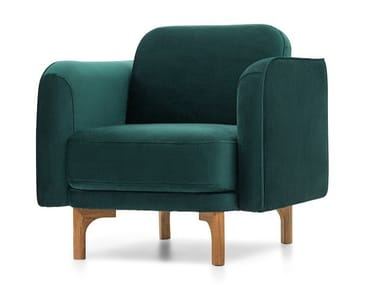 Fabric armchair with armrests LOOP | Armchair