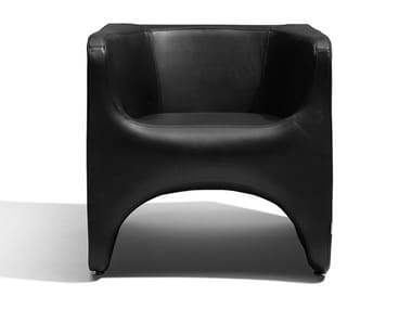 Upholstered leather armchair with armrests NU | Armchair