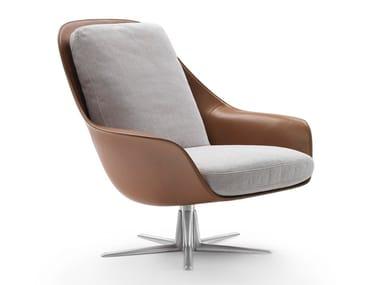 Swivel leather armchair with 5-spoke base with armrests SVEVA   Armchair