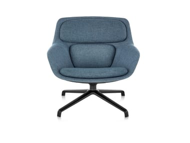 Swivel fabric armchair with 4-spoke base STRIAD | Swivel armchair