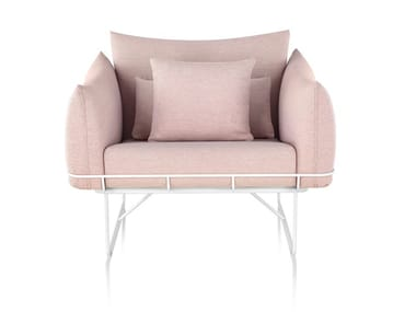 Fabric armchair with armrests WIREFRAME | Armchair