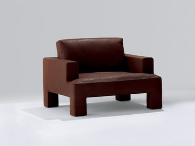 Leather armchair with armrests ALTO PIANO | Armchair