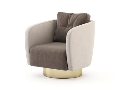 Upholstered velvet armchair with armrests HER | Armchair