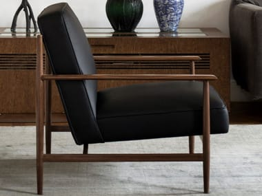 Leather armchair with armrests GAIA | Leather armchair