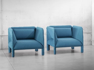 Upholstered fabric armchair with armrests MITILO | Armchair