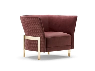 Upholstered fabric armchair with armrests COSMO | Armchair