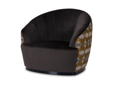 Upholstered microfiber and velvet armchair with armrests CLUB | Armchair